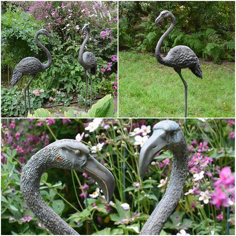 Factory custom outdoor paired bronze flamingo sculpture