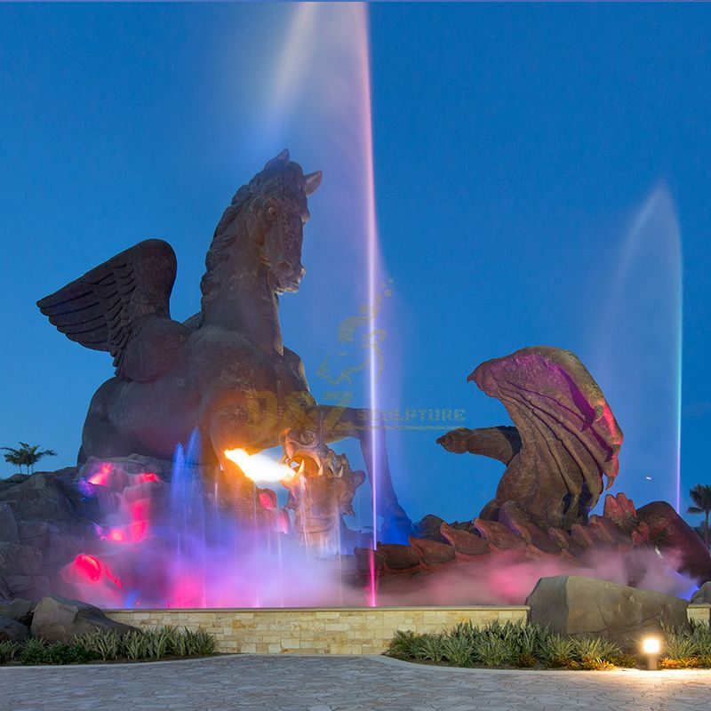 pegasus and dragon statue fountains