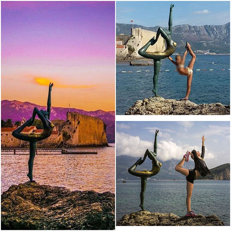 Popular bronze yoga elegant lady sculpture