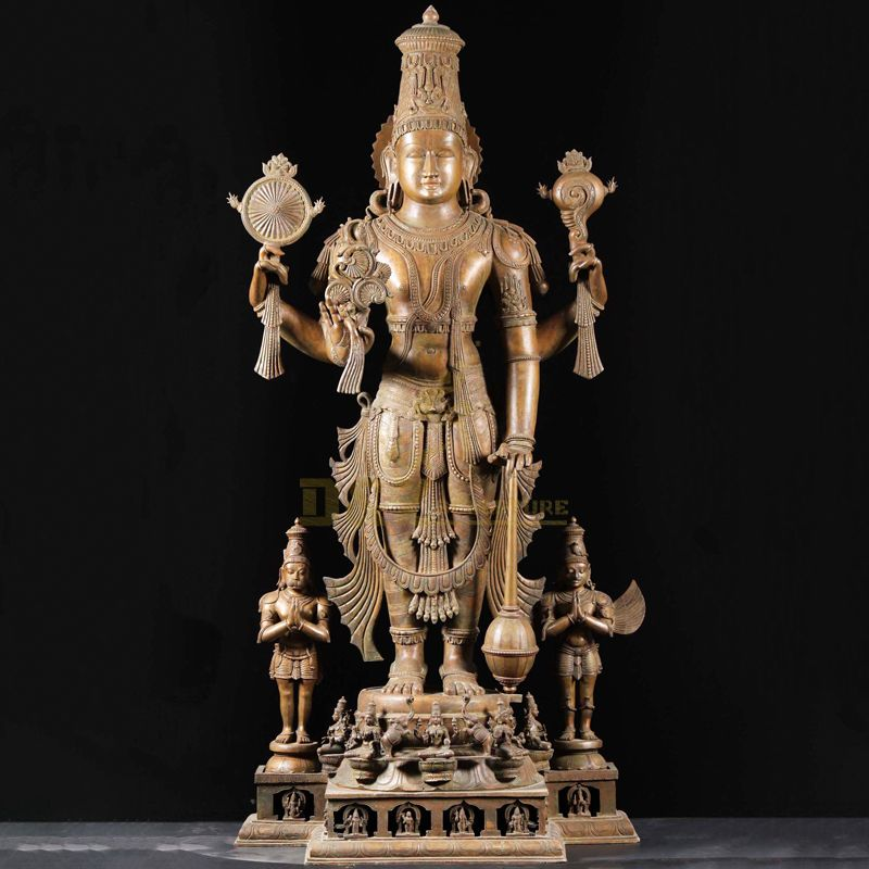 Life-size metal casting lord vishnu bronze statue for sale