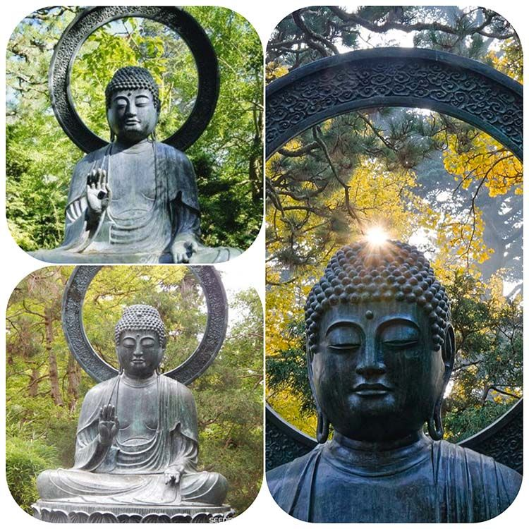 The famous bronze Buddha statue in the Japanese tea garden