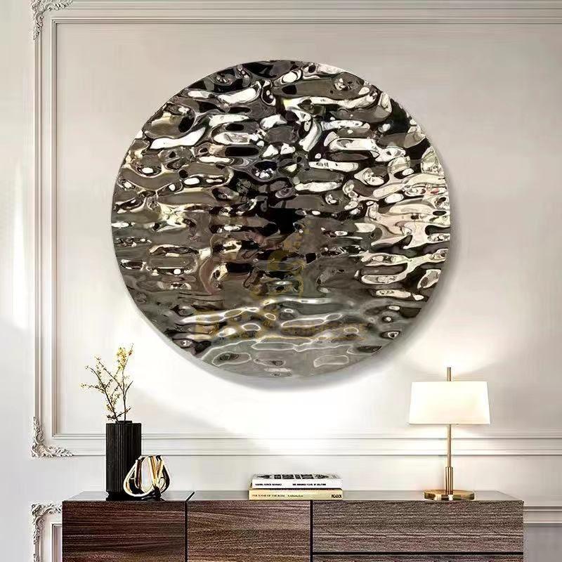 Stainless steel sculpture modern wall art water ripple disc wall 3d decoration