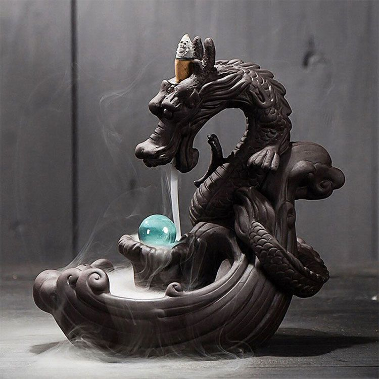 Chinese dragon tabletop water fountain with crystal ball