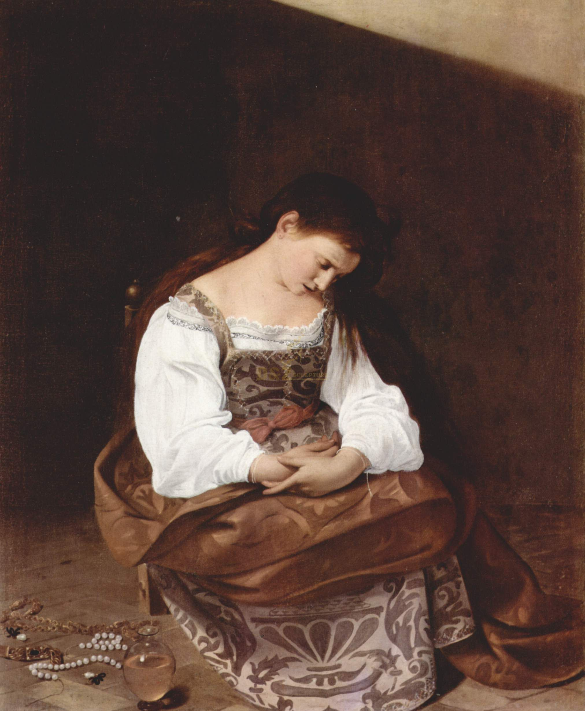repentant Mary Magdalene, bowed over in penitent sorrow