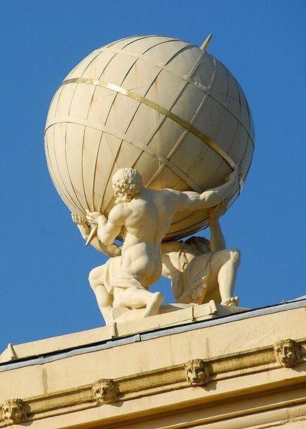 Atlas holding the world statue
