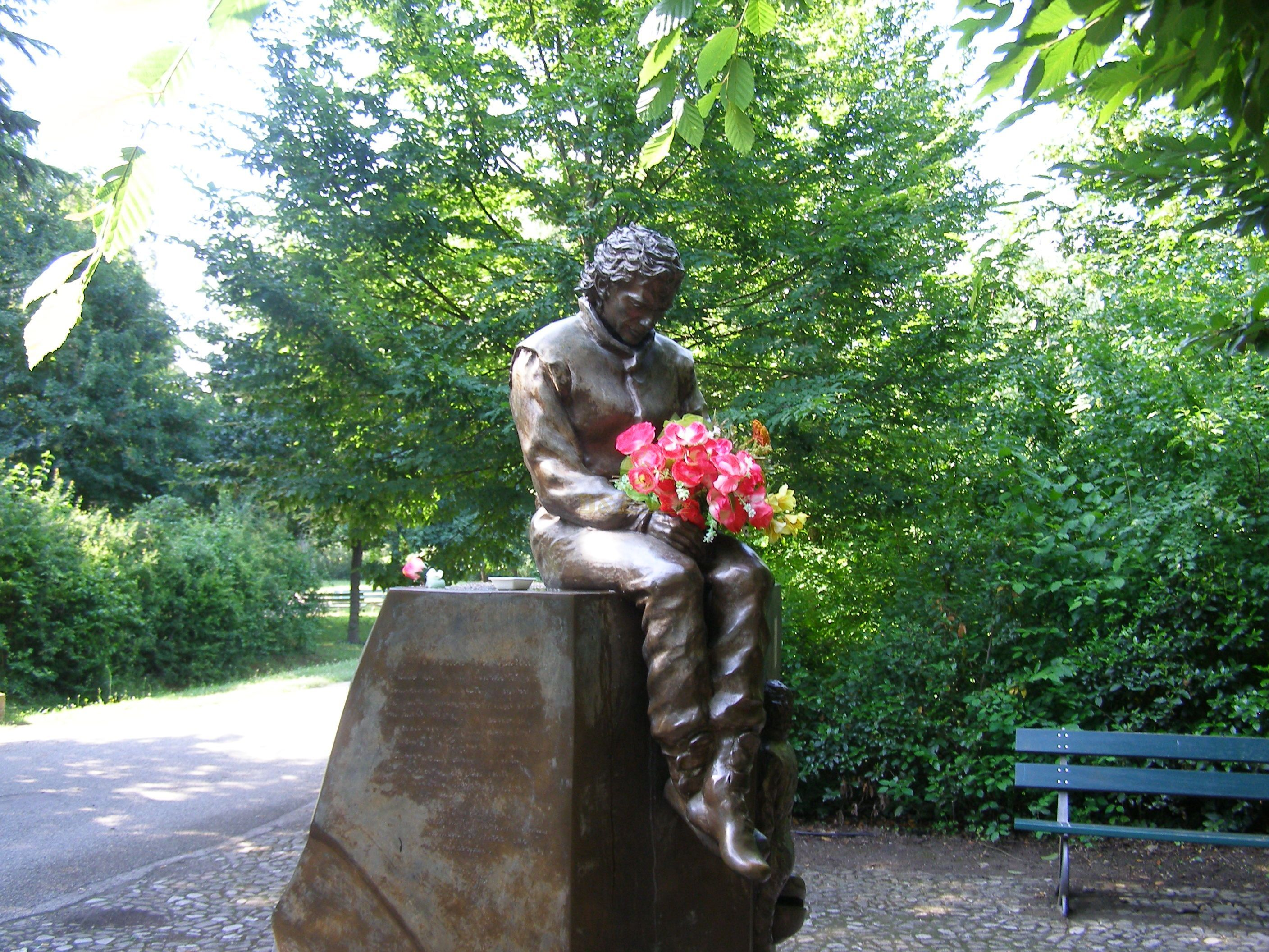 the statue of Senna at Imola