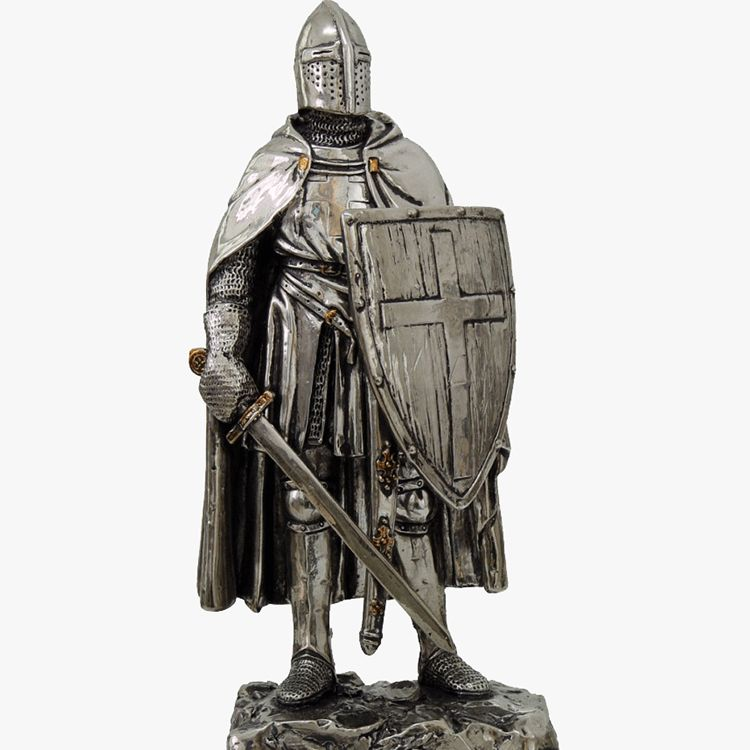 antique metal knight statue