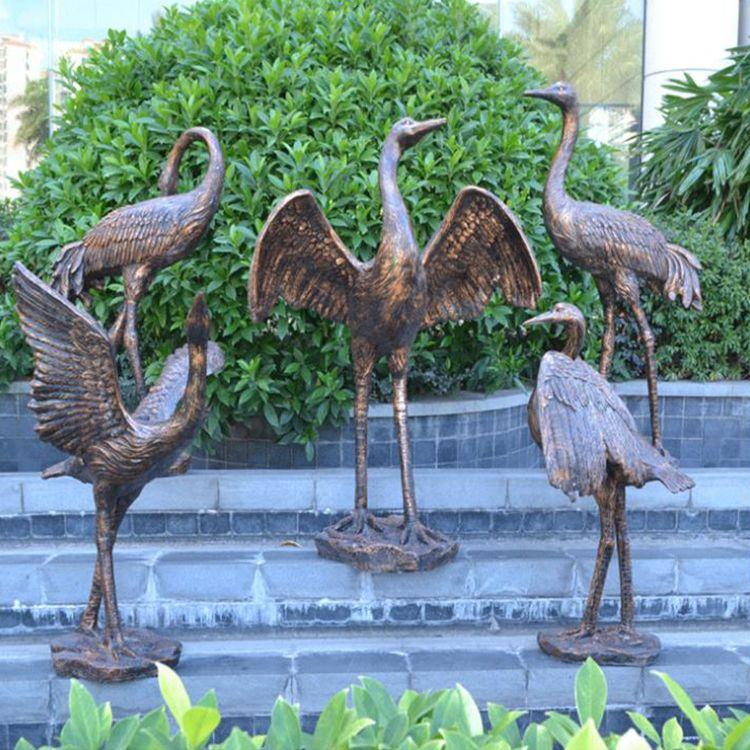 metal crane garden ornament
