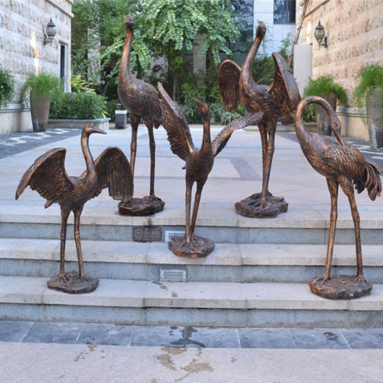 large outdoor crane statues