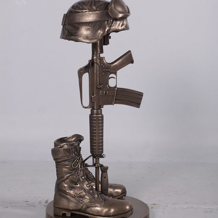 rifle boots and helmet memorial