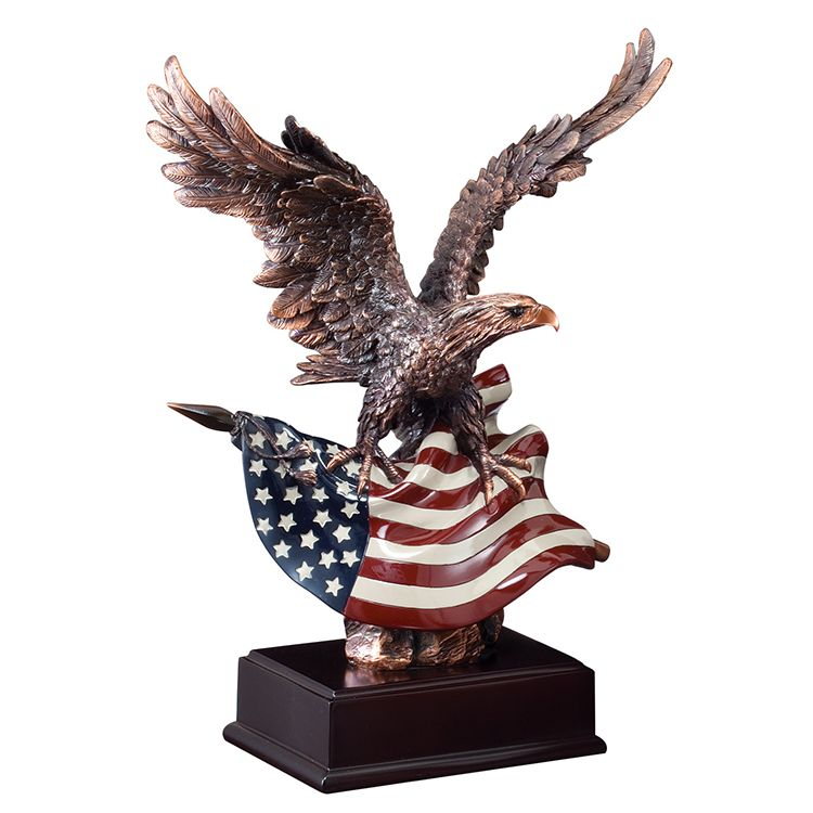 eagle with american flag statue