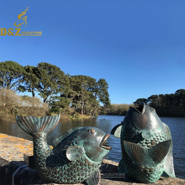 outdoor koi fish statue