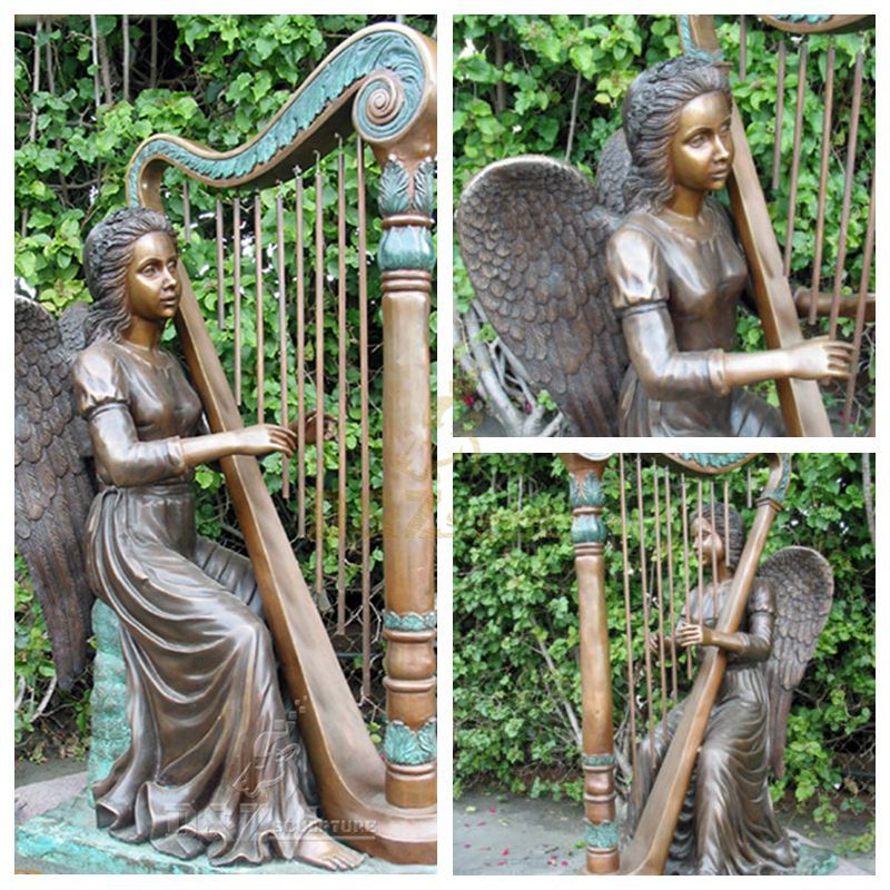 angel with harp statue