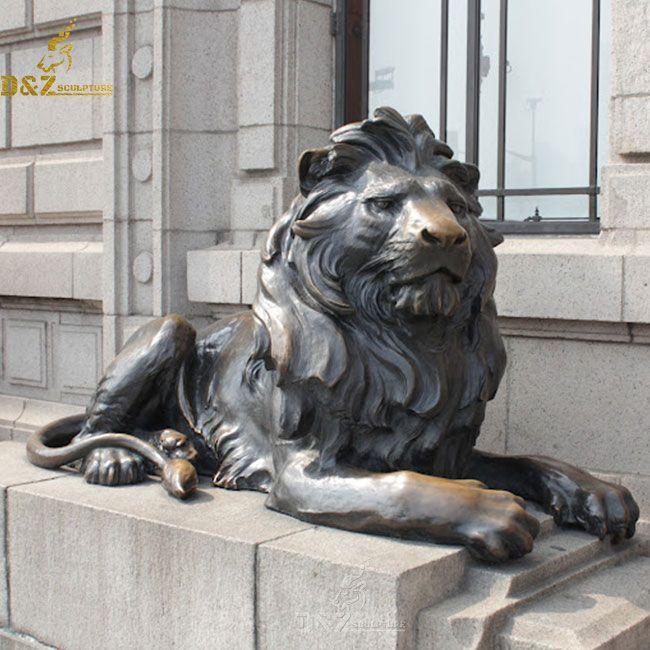 lion statue outside house